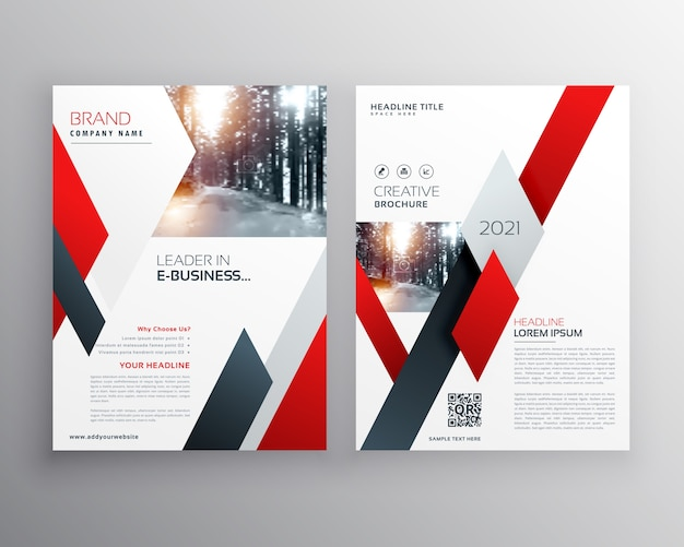 red business flyer template vector premium download