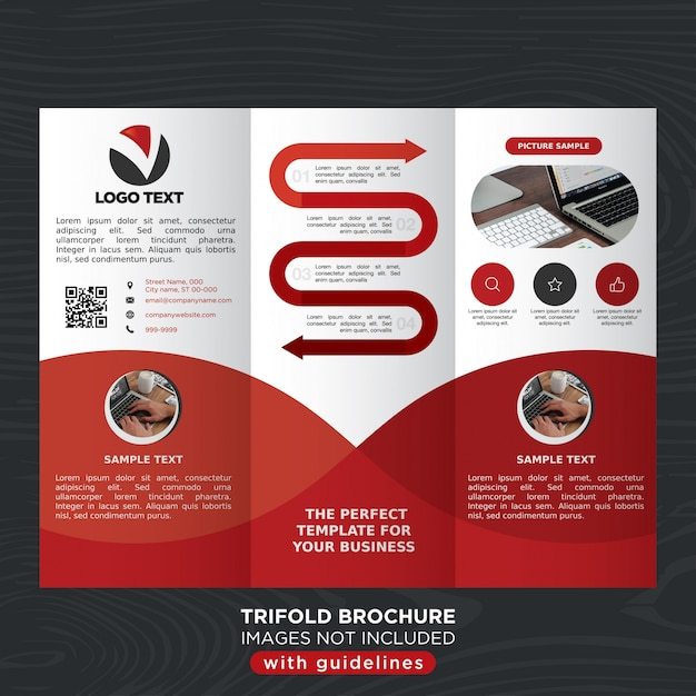 Red Business Trifold Brochure Template Layout Vector Free Download - Business tri fold brochure templates