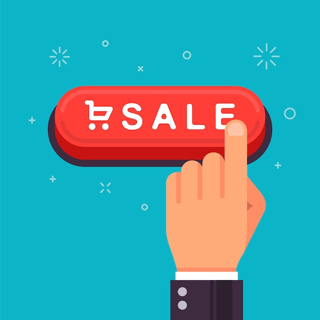 Red button for shopping. Premium Vector