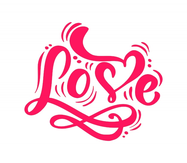 Red calligraphy word love lettering Premium Vector