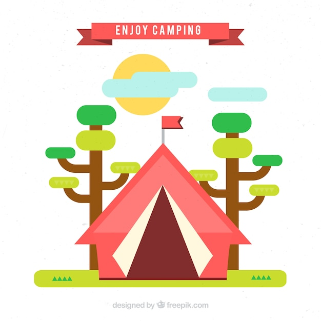Red camping tent with trees in flat\ design