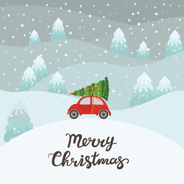 Red car with christmas tree background Premium Vector