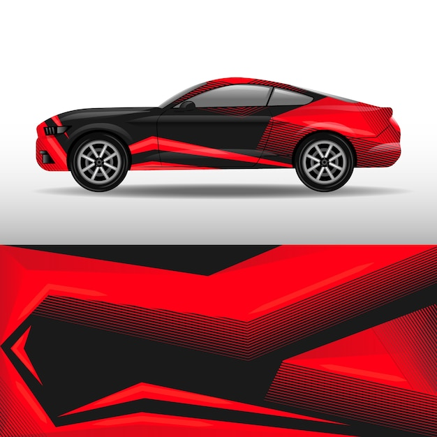 Red car wrap design Premium Vector