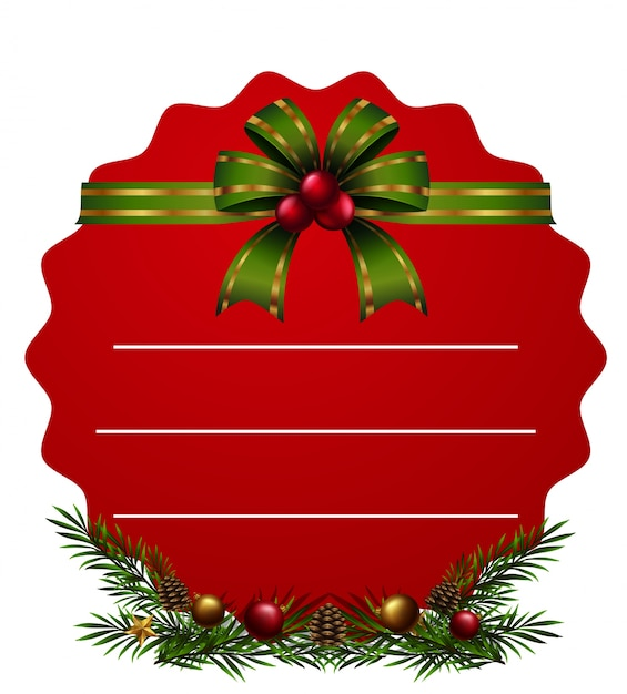 Red card and green riboon for christmas Premium Vector
