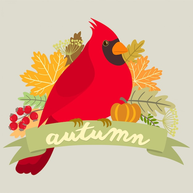 Red cardinal on an autumn banner Premium Vector