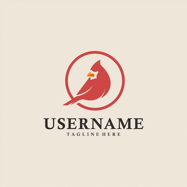 Red cardinal bird circle logo Premium Vector