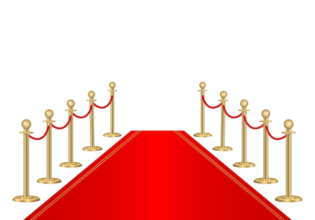 레드 카펫 및 경로 장벽. Vip 이벤트, 럭셔리 축하. 프리미엄 벡터