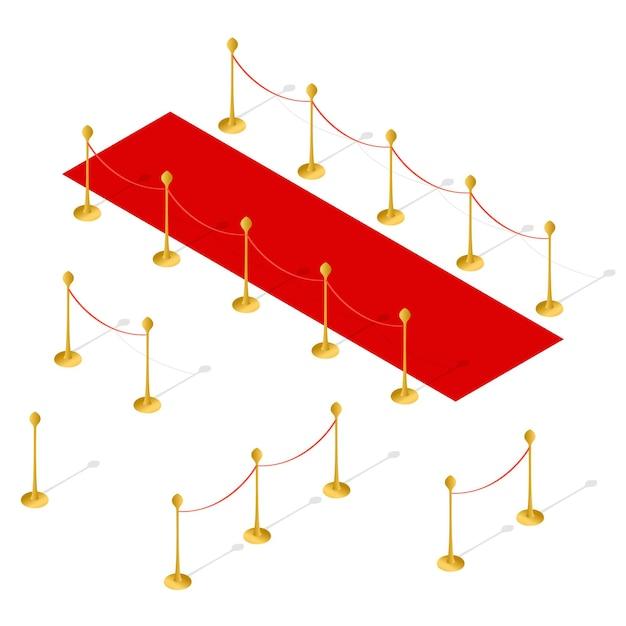 레드 카펫 및 로프 장벽 설정 등각 투영 뷰. 프리미엄 벡터
