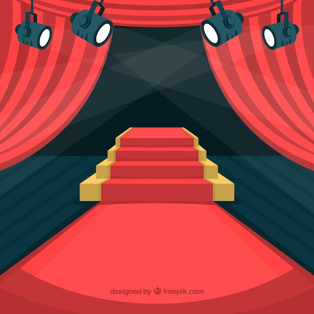 Freepik Red Carpet Background In Flat Style Vector For Free