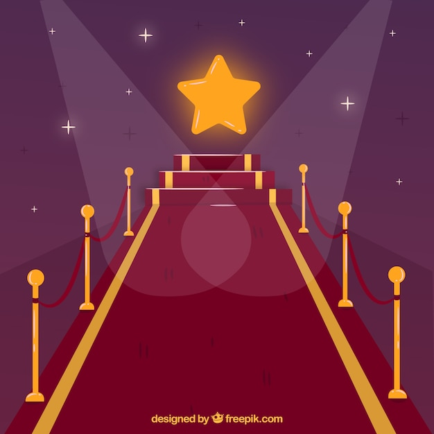Red carpet background in flat style Free Vector
