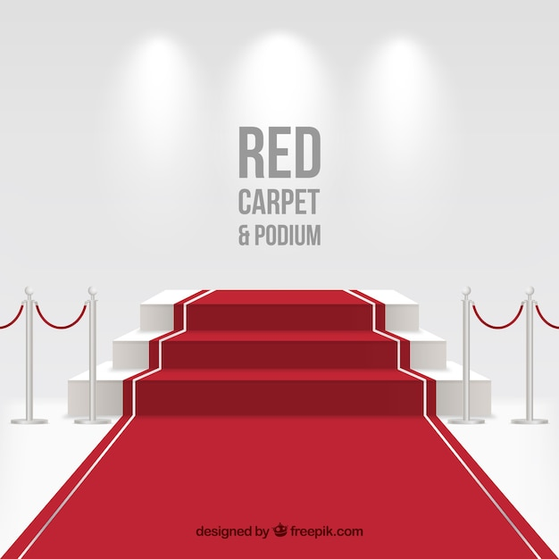 Red carpet background in realistic style Free Vector