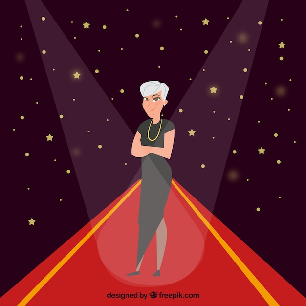 Red carpet background with actress in flat style Free Vector