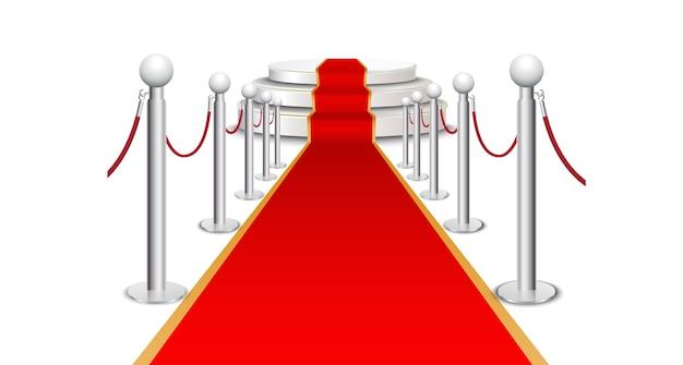 Red carpet on circular staircase Premium Vector