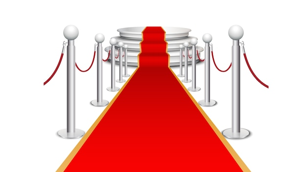 Red carpet on circular staircase Premium Vector