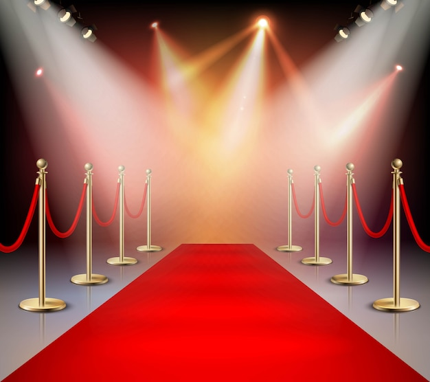 Red carpet in illumination composition Free Vector