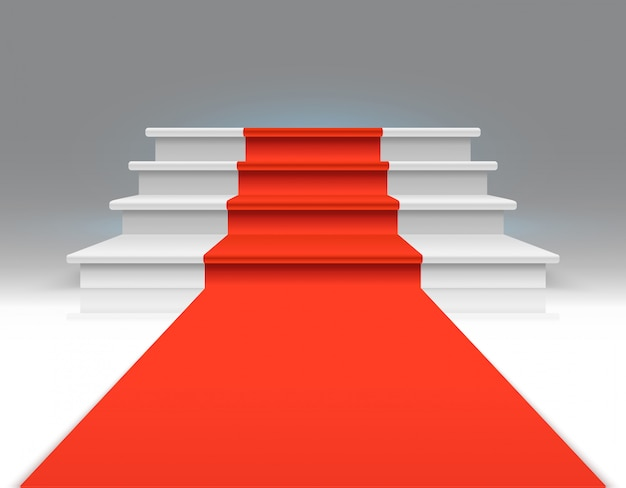 Red carpet on white walking stairs. success, business growth and award vector abstract exclusive background. carpet on stairway, up to podium, staircase illustration Premium Vector