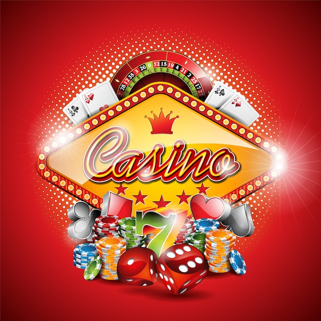 Red casino background Free Vector