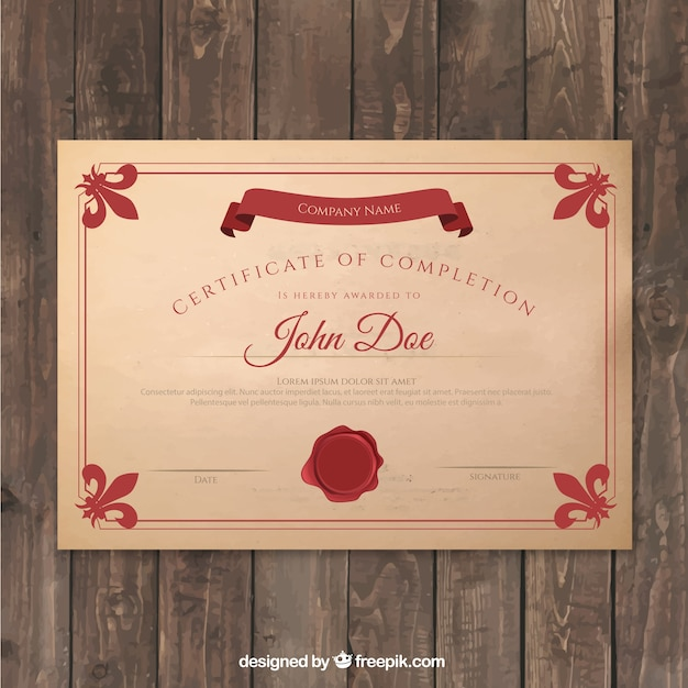 Red certificate of completion Free Vector