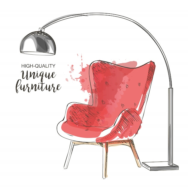 Red chair sketch Premium Vector