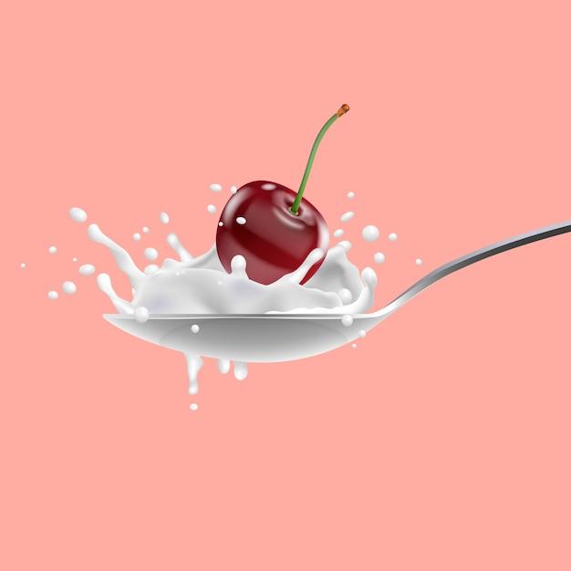 Red cherry and with milk splashing on spoon, yogurt Premium Vector