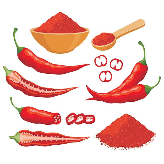 Красный перец чили векторный набор иллюстрации Premium векторы