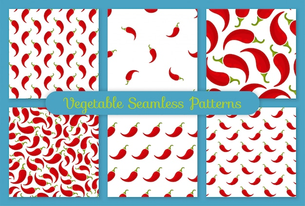 Red chili pepper vegetable seamless pattern set Premium Vector