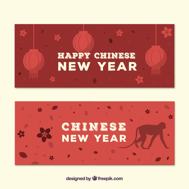 Red chinese new year banners pack vector free download
