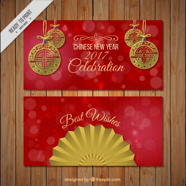 red chinese new year banners free vector