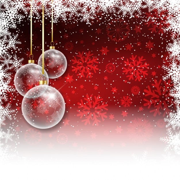 Red christmas background with baubles Vector | Free Download