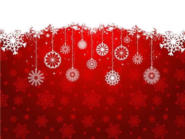 red christmas background with hanging decoration free vector - Red Christmas Background