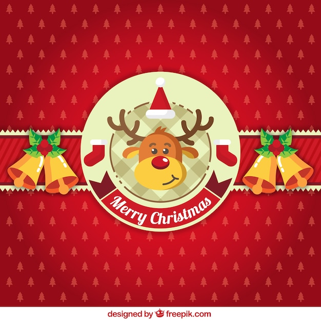Red christmas background with ornaments and a reindeer Free Vector