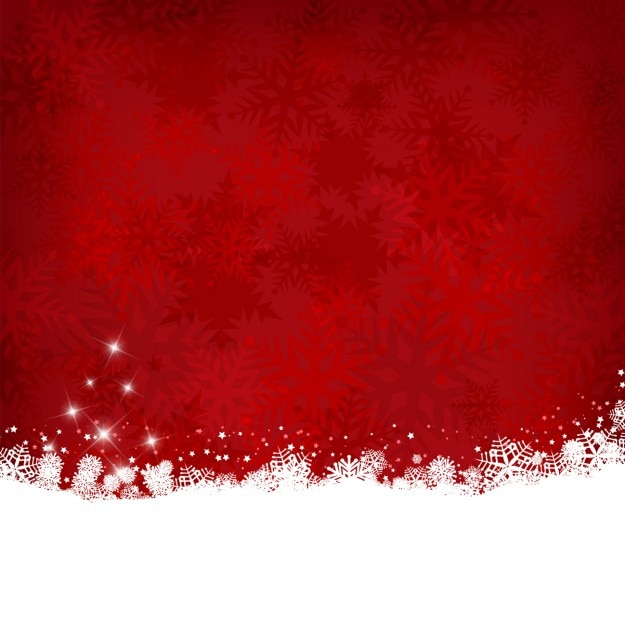 red christmas background with snow free vector - Red Christmas Background