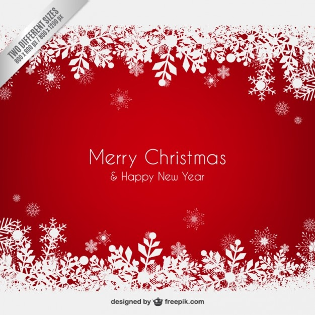 red christmas background with snowflakes free vector