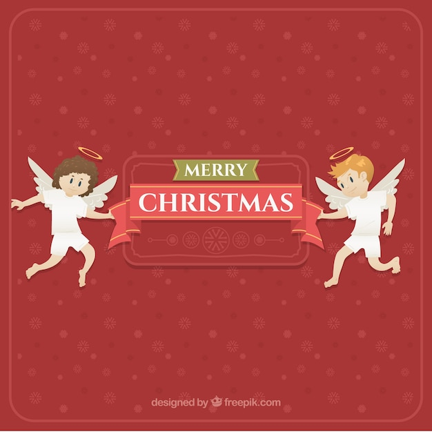 Angels Christmas Background.Download Vector Christmas Angels With Flowers In Their