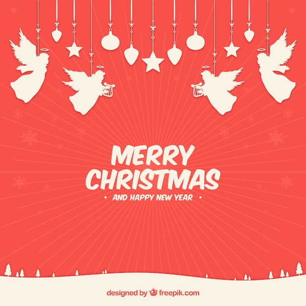 Angels Christmas Background.Red Christmas Background With White Angels Vector Free