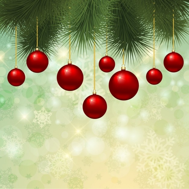 Christmas Green And Red.Red Christmas Baubles On Green Background Vector Free Download