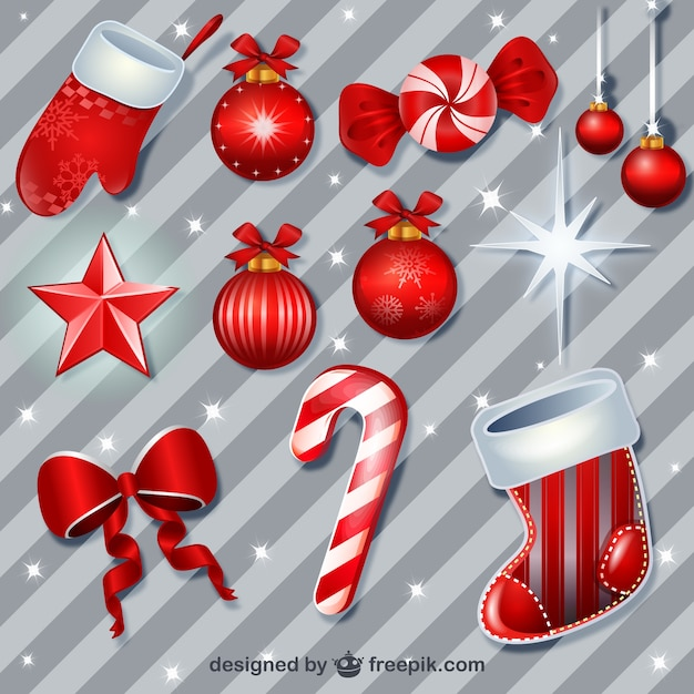 Red Christmas baubles pack