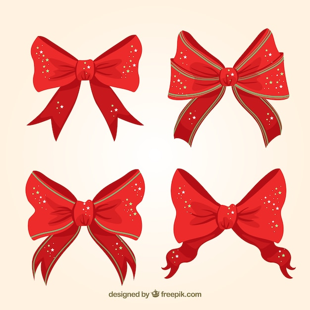 red christmas bows with shiny stars free vector - Red Christmas Bows
