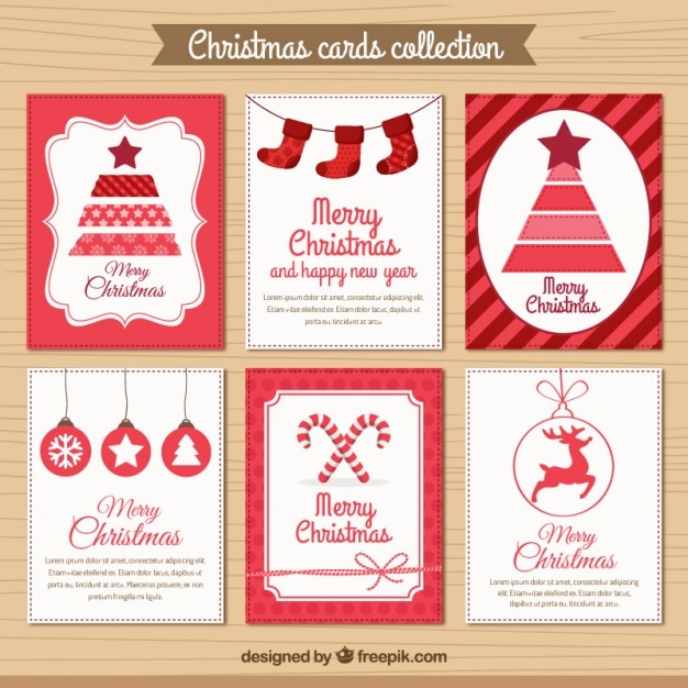 Red christmas card collection Free Vector