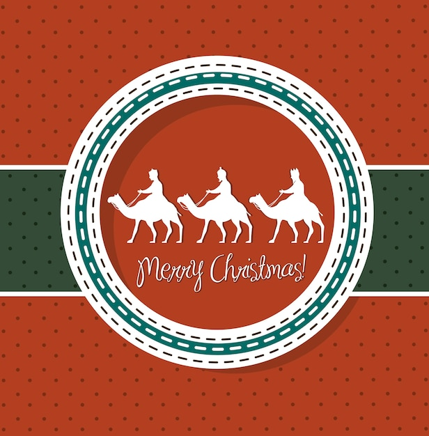Red christmas card with camels vector illustration Premium Vector