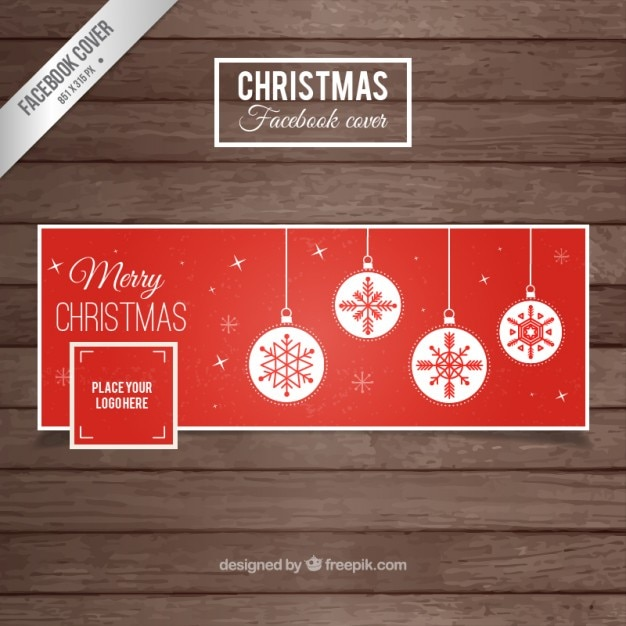 Red Christmas Cover for Facebook Free Vector
