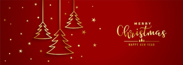 Red christmas festival banner with golden line tree Free Vector