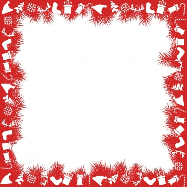Red christmas frame Vector | Free Download