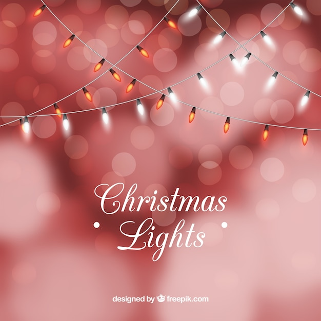 Red Christmas Lights Background In Bokeh Style Vector Free