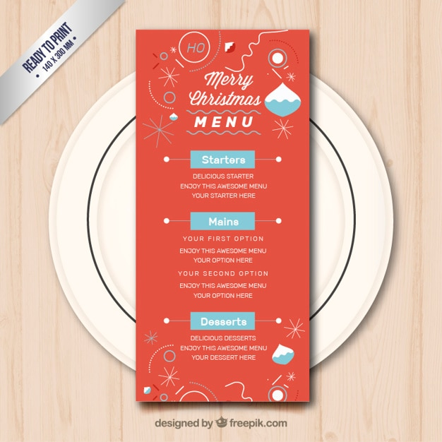 Red christmas menu template vector free download red christmas menu template free vector pronofoot35fo Images