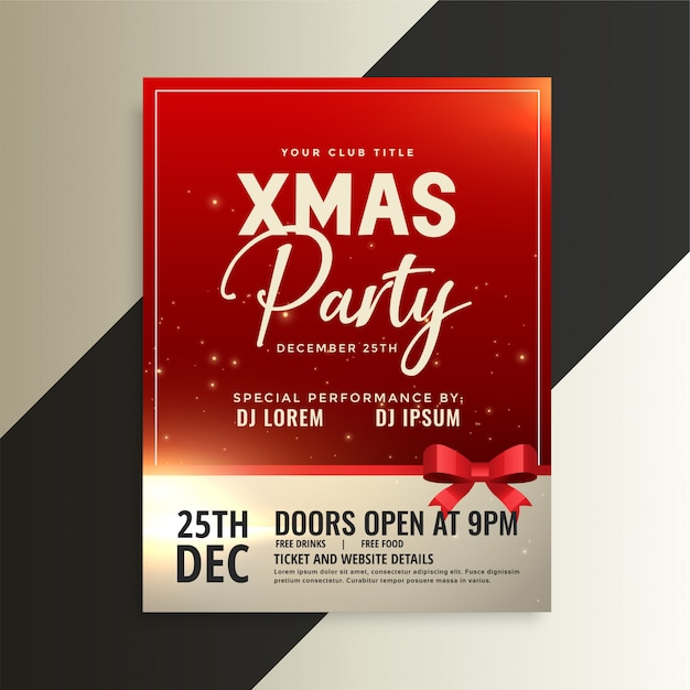 Red christmas party flyer with shiny ribbon Free Vector