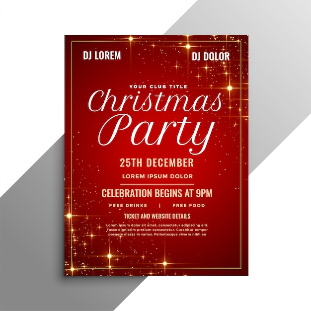 Red christmas party flyer with sparkles Free Vector