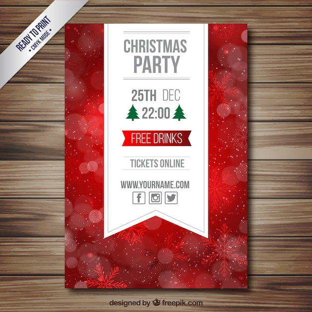 Red christmas party flyer Free Vector