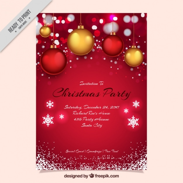 Red christmas party invitation with balls and snowflakes Free Vector