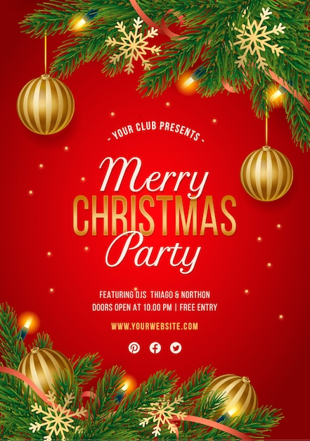 Free Vector | Red christmas party poster